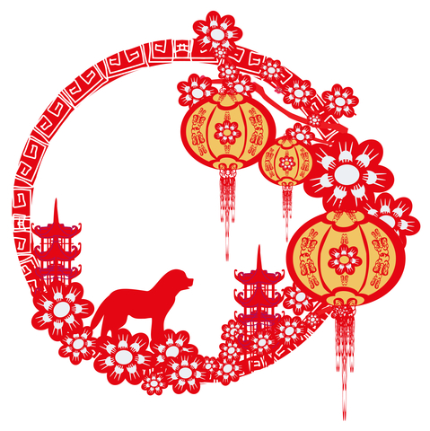 Red Lunar New Year symbol celebrates Year of the Dog